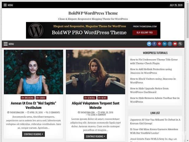 BoldWP - тема вордпресс для личного блога или журнала