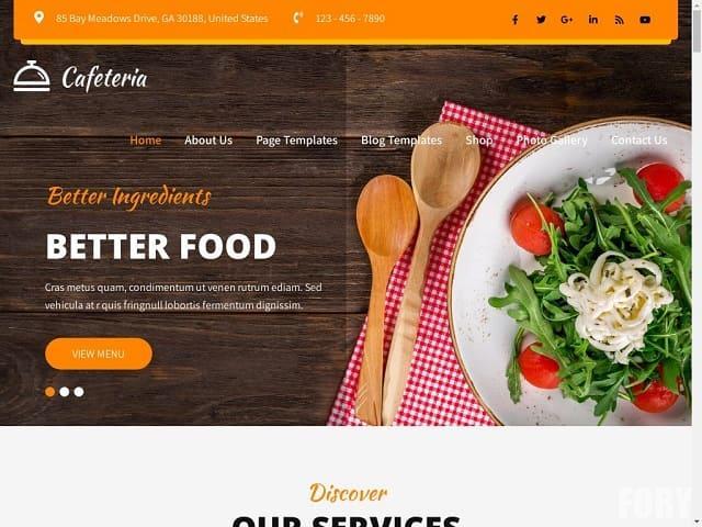 Cafeteria Lite - бесплатная тема вордпресс для кафетерия