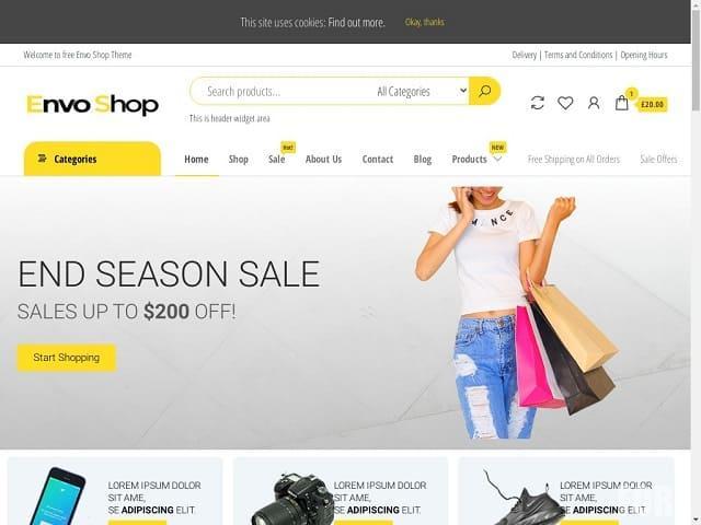 Envo Shop - бесплатная тема вордпресс для интернет магазина