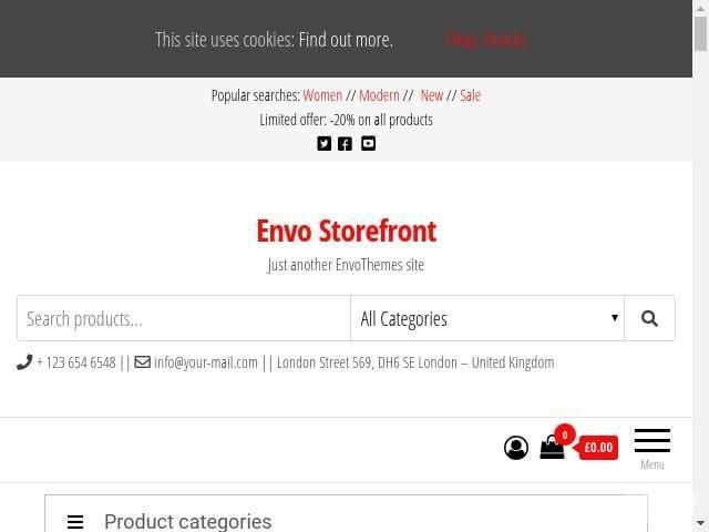 Envo Storefront - быстрая, чистая и современно выглядящая бесплатная отзывчивая тема WooCommerce для WordPress