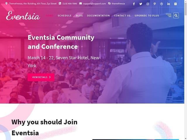 Eventsia - это тема WordPress, созданная специально для Event Conference, блогов, новостей и образования.