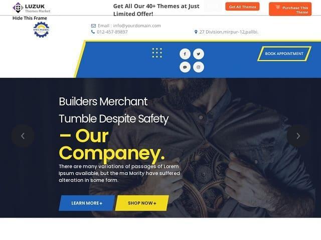 Expert Mechanic - бесплатная тема вордпресс для сайта гаража, автомойки, СТО, мастерской по ремонту авто