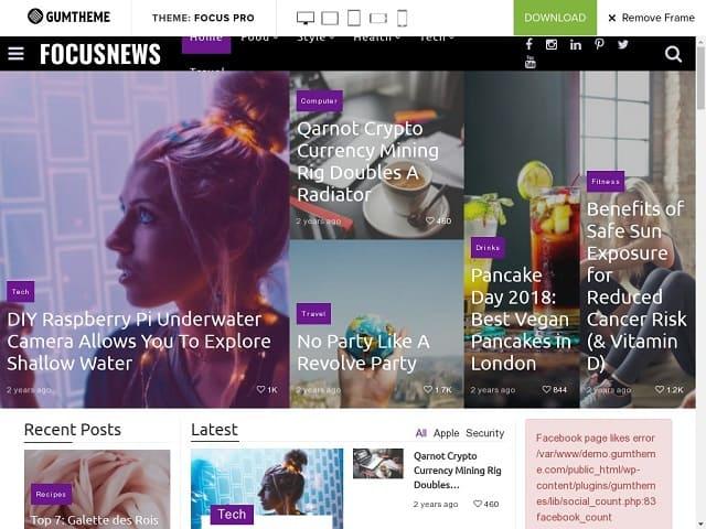 Focus Magazine - это современная адаптивная тема WordPress, которая позволяет с легкостью писать статьи и публикации в блогах.