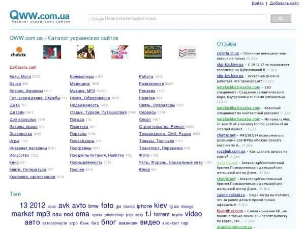 Каталог украинских сайтов Qww