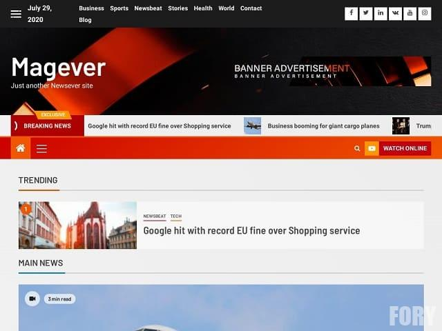 Magever - тема вордпресс для новостного ли журнального сайта
