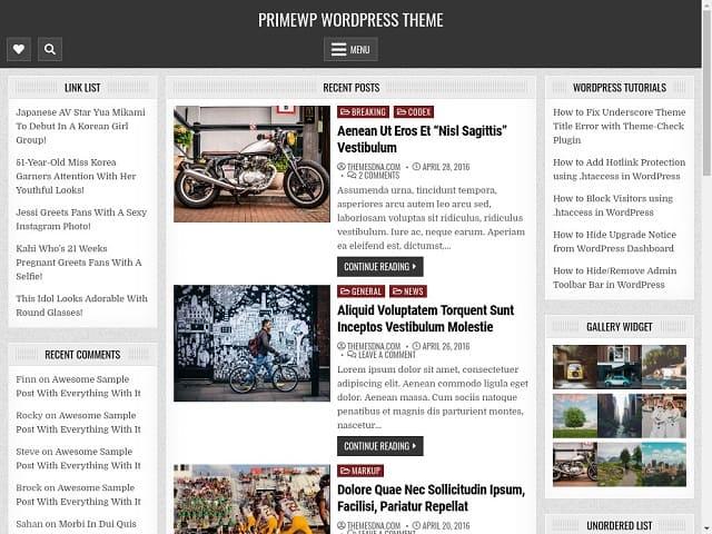 Prime WP полностью отзывчив, улучшена доступность, 3 колонки, тема WordPress