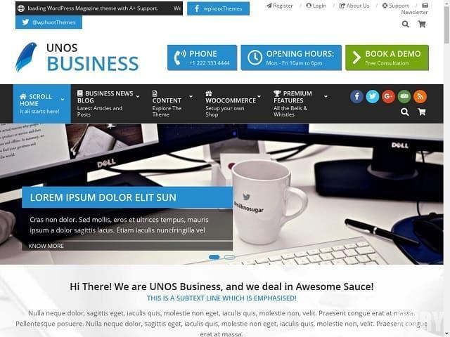 Unos Business - профессиональная бизнес-тема для малого бизнеса, церкви, магазинов и онлайн-SEO и маркетинга.